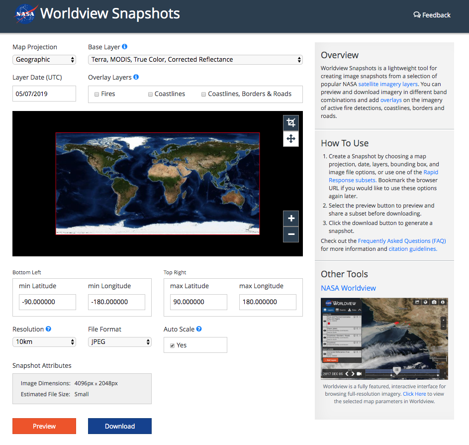 Screenshot of Worldview Snapshots
